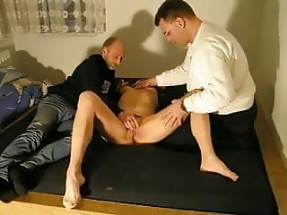 Amateur MMF threesome -Mture wife shared with a friend