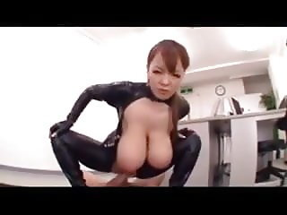 Horny Busty Japanese MILF gets fucked in kinky leather....