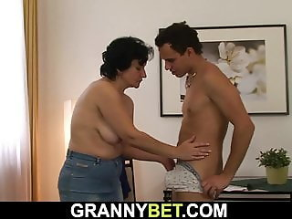 Shaggy pussy 60 yo woman rides his young cock