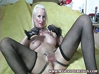 My Sexy Piercings Heavy pierced granny stretching pussy