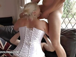 Granny is fucked by two