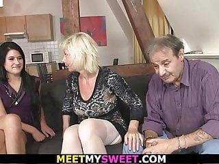 She involved into 3some sex with his old parents