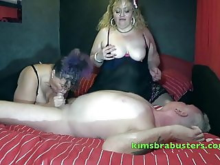 An old mans cock gets two Grannies
