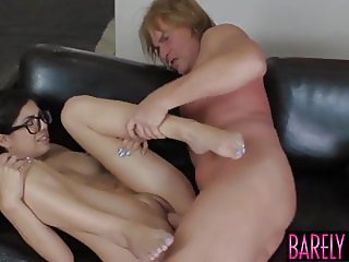 Young beauty gets her perky tits licked and fucked hard