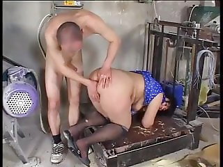Granny ass fucked at the floor mill