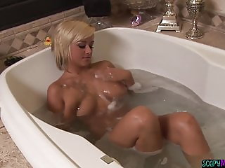 Busty lesbo rimmed after soapy massage