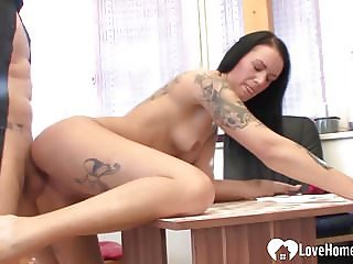 Tattooed beauty on an interview got naughty.mp4