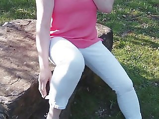 Outdoor Pissing Fun In Jeans