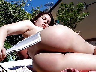 Totaly naked for outdoor self-spanking