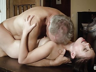 Old english teacher fucks his young student she swallows cum