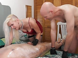 sadobitch - CBT on wrapped up slave