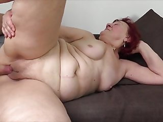 Beautiful red hair granny's passion sex with young guy