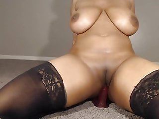 busty blue haired ebony with big natural boobs masturbating