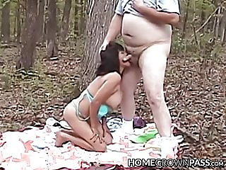 Amateur lady toys her cunt before being pounded in the woods