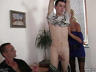 His sexy blonde wife sucks and rides young cock