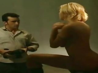 Blonde greek woman strip her big tits.