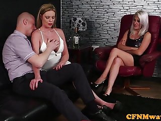 Busty eurobabes dominate lucky naked guy
