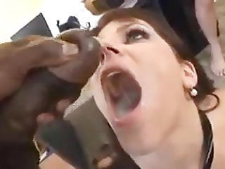 White whore wife get gang bang BBC fuck and cums she swallow