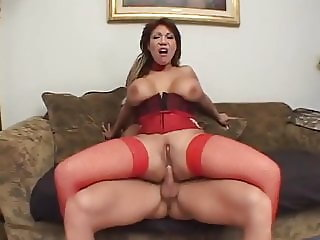 Brunette MILF with huge tits