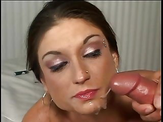 Dirty Brunette Blowjob Facial