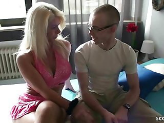 GERMAN MILF TEACH STEP-SON to Fuck and let him cum Inside