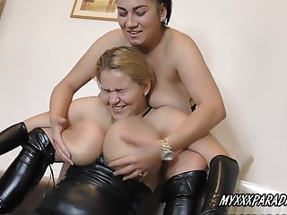 Busty sister Erin and Helen Stars in Latex stockings