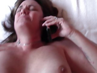 Slut Wife Fucked while talking on phone with Hubby, Cum on P
