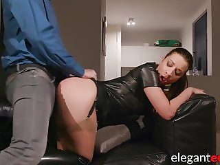 Delinquent babe bent over for spanking and penetration