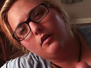 Young BBW in glasses handjob