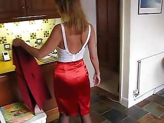 nice lady in Satin Skirt and Underwear