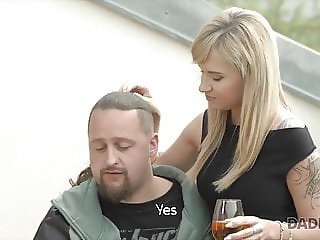 Comely girl enjoys unexpected sex with her man's bald dad