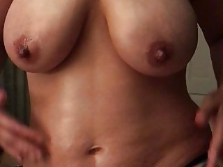 My arab wife massaging her oiled tits