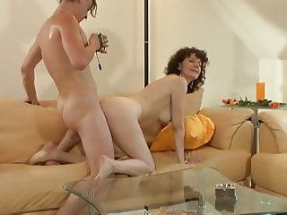 Hairy mature provides sliding friction with her pole hole