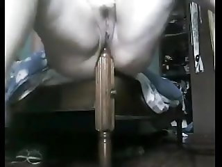 Fat Mature Rides The Bedpost