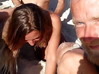 My girlfriend getting fucked by stranger on the beach.