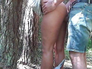 Wife fucked in woods. Mature outdoor sex