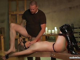Master inflicts pain with hot wax, and a blind deepthroat