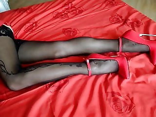 Extreme steel heels and nylon stockings
