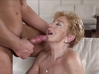 Gran loves getting fucked and takes a facial