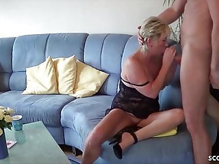 GERMAN MATURE seduce YOUNG BOY NEIGHBOR to Fuck when alone