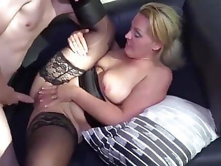 Hot blonde milf banged by young guy