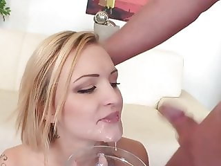 Belle Claire get rough DAP until swallow bowl of 15 man cum
