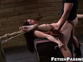 BDSM sub Stella May throated before rough penetration