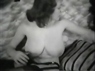 Vintage lascivious girl with perfect huge tits