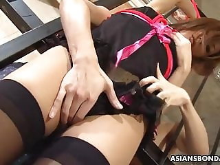 Aoi Mikami got tied up and slowly forced to cum