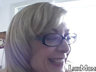 Busty lesbian MILF munching young stepdaughter pussy