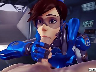 Hot ass Tracer from Overwatch gets doggystyle and blowjob
