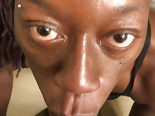 Ebony whore blows me deepthroats then swallows