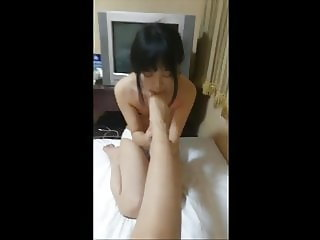 chinese mistress gets her pussy and feet licked