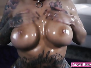 Asian goth stunner Lily Lane oiled up for hard penetration